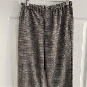PacSun Plaid Grey Cropped Trousers